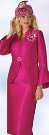 Clearance Lily and Taylor 4140 - Silky Twill Fabric Skirt Suit With Bell Sleeves