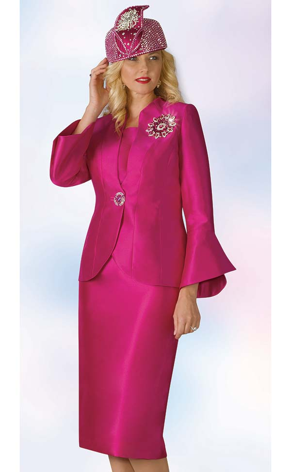 Lily and Taylor 4140 - Silky Twill Fabric Skirt Suit With Bell Sleeves