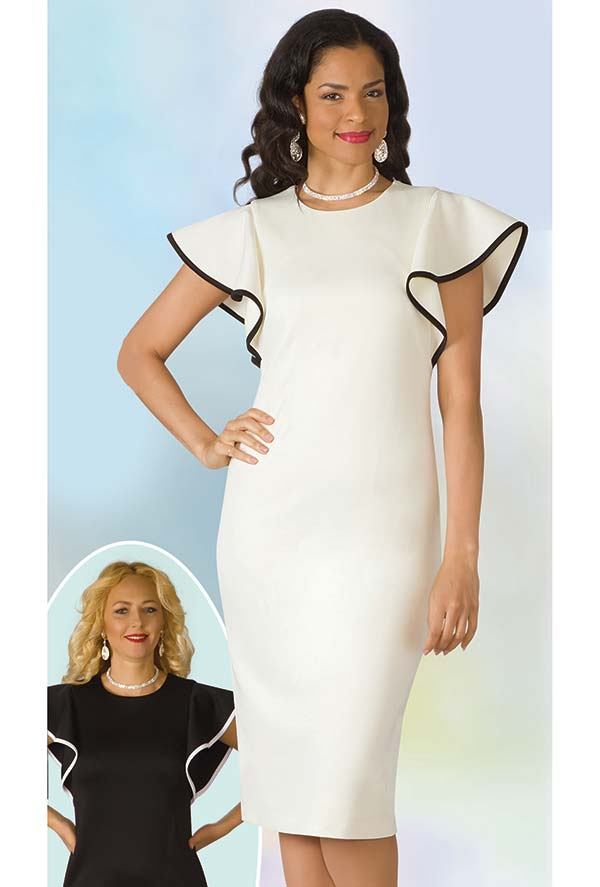 Lily and Taylor 4157 - Ponte Knit Fabric Dress With Short Ruffled Sleeves