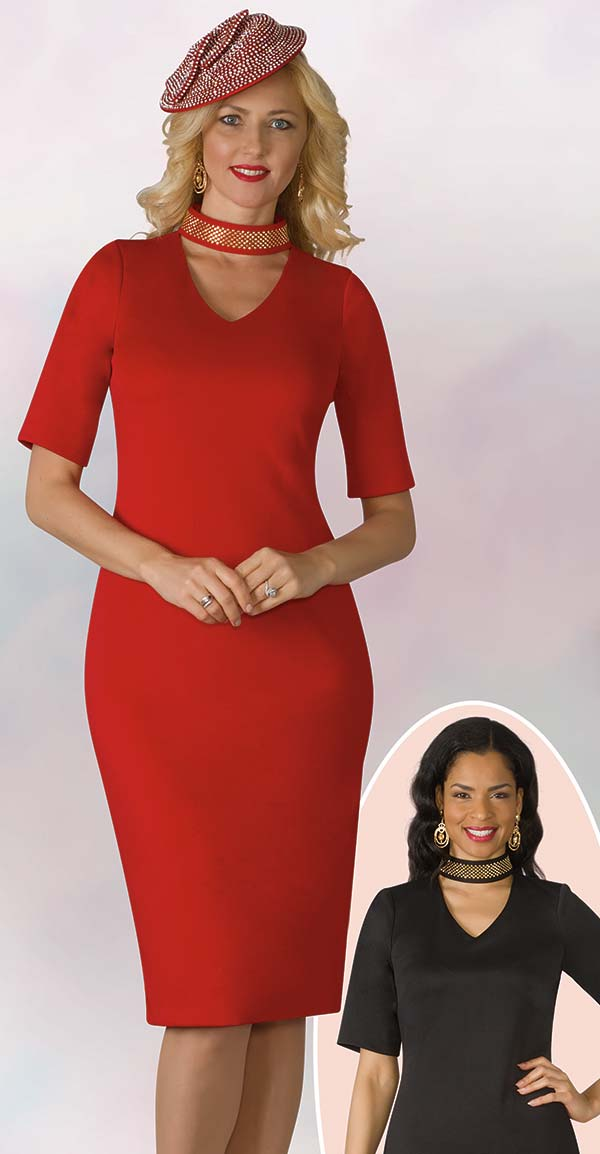 Lily and Taylor 4158 - Vee Neckline Ponte Knit Fabric Dress With Beaded Necklace