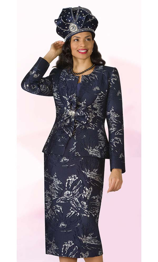 Lily and Taylor 4171 - Novelty Fabric Skirt Suit With Print Design