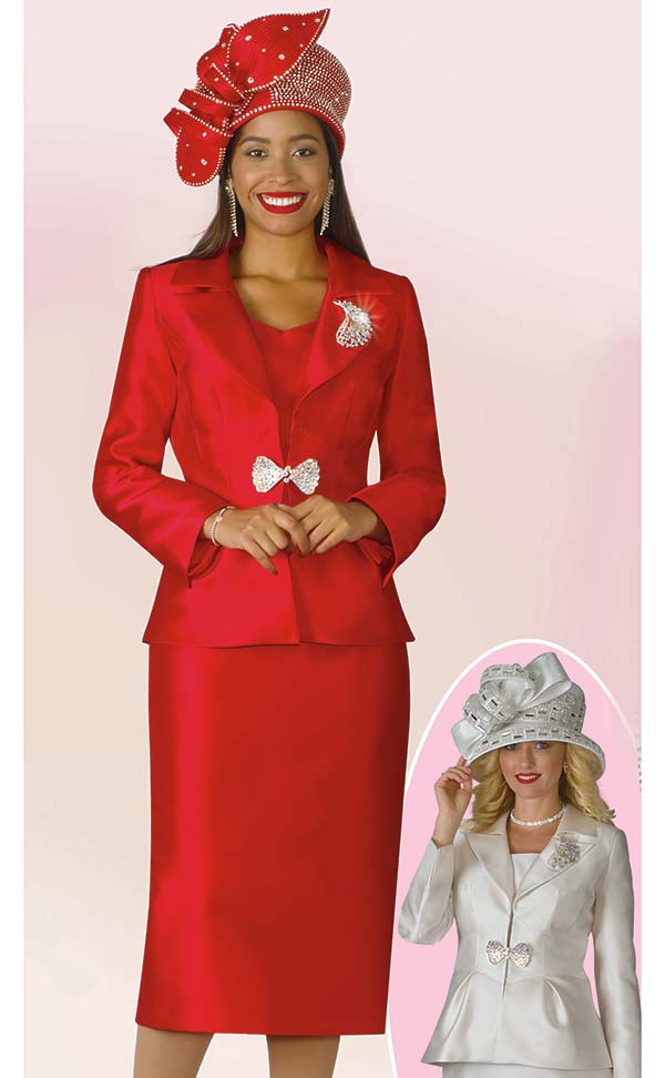 Lily and Taylor 4177 - Silky Twill Fabric Ladies Notch Lapel Skirt Outfit