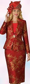Lily and Taylor 4181 - Multi Print Novelty Fabric Skirt Set With Star Neckline Jacket