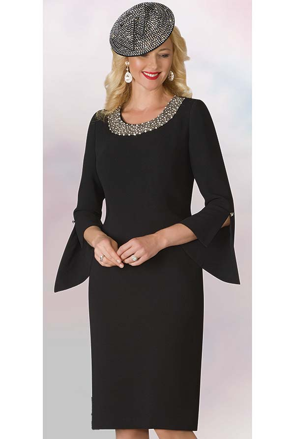 Lily and Taylor 4185 - Beaded Neckline French Crepe Fabric Dress With Split Bell Sleeves