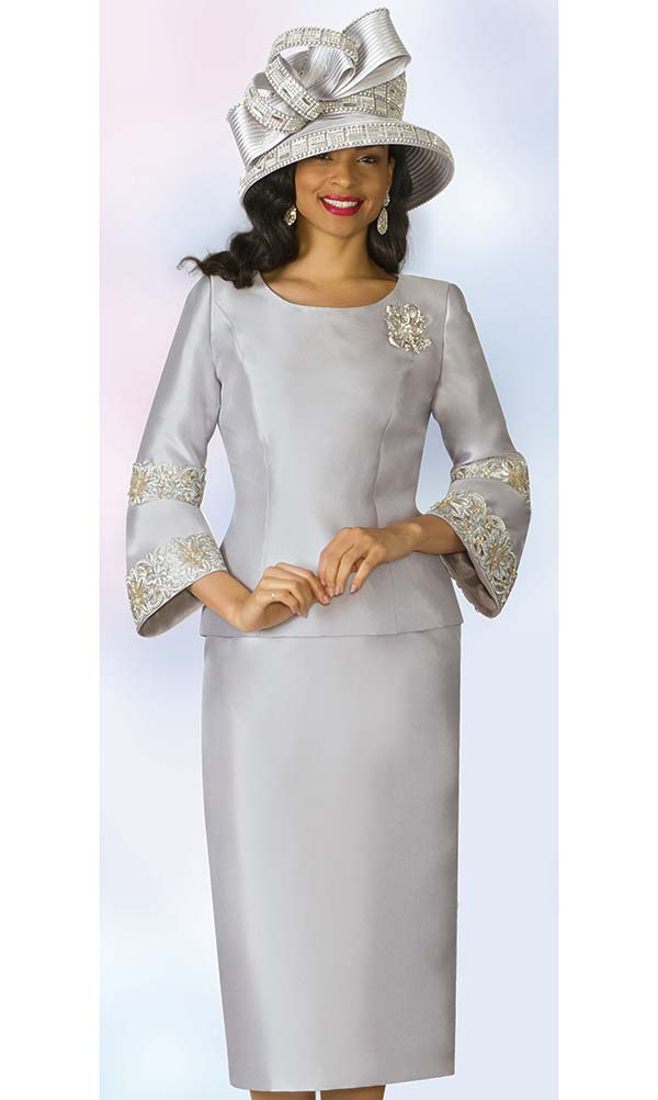 Lily and Taylor 4187 - Silky Twill Fabric Skirt Set With Flared Cuffs & Lace Trim