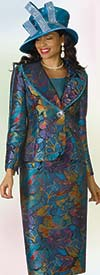 Lily and Taylor 4190 - Novelty Fabric Skirt Suit With Print Design & Beaded Trim