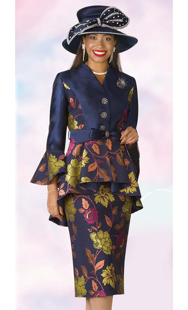 Lily and Taylor 4205 - Silky Twill & Novelty Fabric Skirt Suit With Peplum Bell Cuff Jacket
