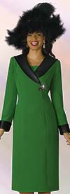 Lily and Taylor 4211-AppleGreen - French Crepe Dress With Faux Leather Collar & Cuffs