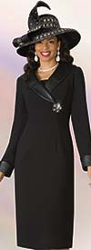 Lily and Taylor 4211-Black - French Crepe Dress With Faux Leather Collar & Cuffs