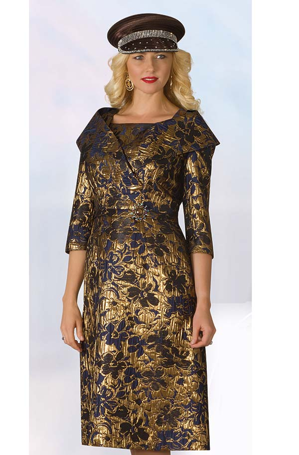 Lily and Taylor 4225 - Brocade Style Novelty Fabric Church Dress With Portrait Collar