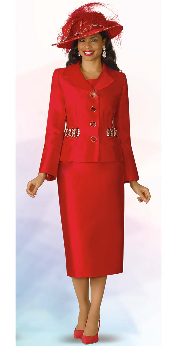 Lily and Taylor 4234-Red - Silky Twill Fabric Skirt Set With Embellished Jacket