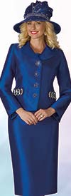 Lily and Taylor 4234-Royal - Silky Twill Fabric Skirt Set With Embellished Jacket
