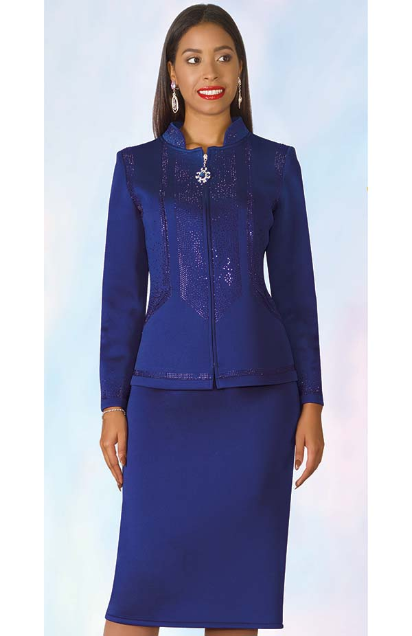 Lily and Taylor 4953 - Scuba Fabric Skirt Outfit With Rhinestone Accented Jacket