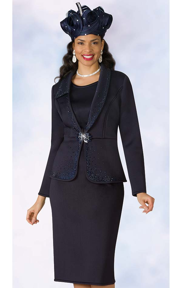 Lily and Taylor 4964 - Scuba Fabric Skirt Set With Rhinestone Accented Jacket