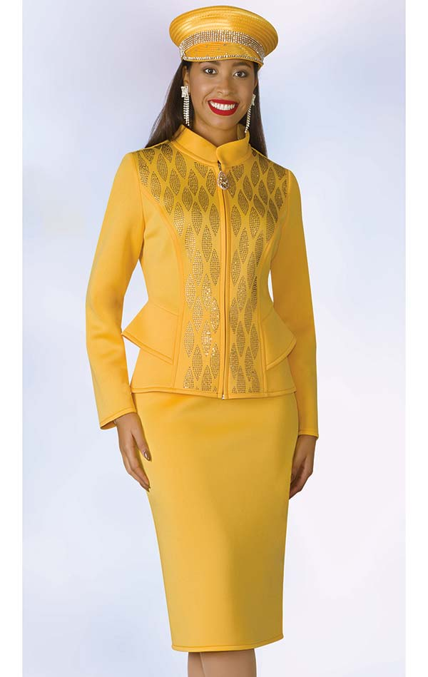 Lily and Taylor 4966 - Scuba Fabric Skirt Suit With Nehru Collar & Rhinestones