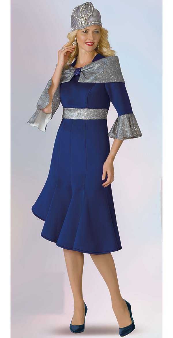 Lily and Taylor 4967 - Scuba Fabric Flared Dress With Bell Cuffs