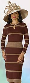 Lily and Taylor 613 - One Piece Striped Dress In Knit Fabric