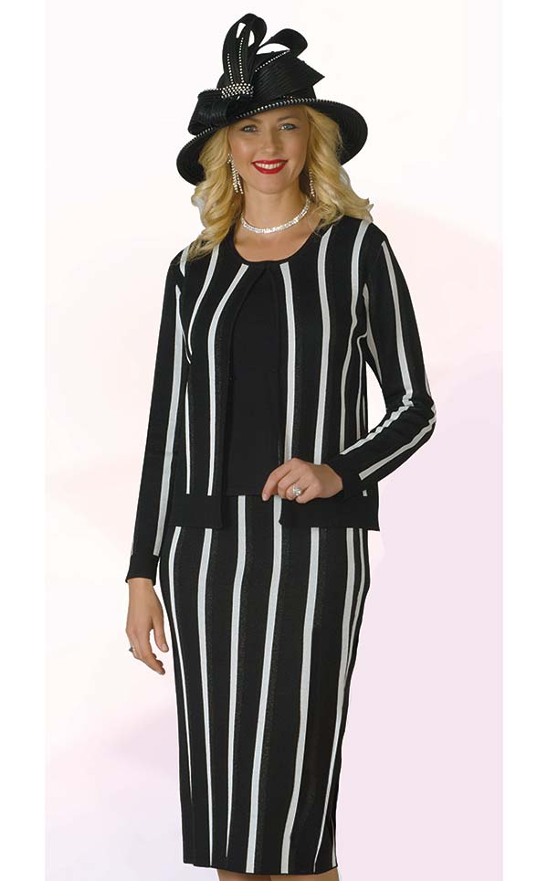 Lily and Taylor 615 - Three Piece Knit Fabric Skirt Set With Striped Design