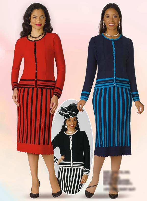 Lily and Taylor 617 - Two Piece Striped Skirt Outfit In Knit Fabric