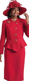 Lily and Taylor 4046 - Two Piece Skirt Suit With Peplum Wrap Style Jacket