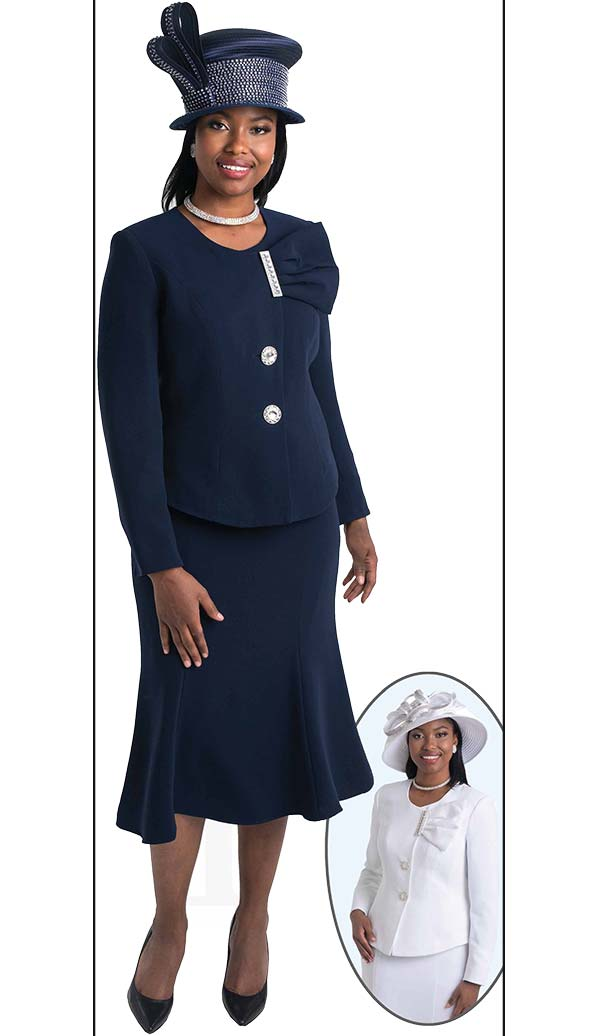 Lily and Taylor 4080 - Two Piece Flared Skirt Suit With Ruffle Adornment On Jacket