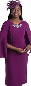Lily and Taylor 4091 - Womens Embellished Neckline Church Dress With Cape