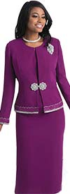 Lily and Taylor 4272 -  Skirt Suit With Jacket Trimmed In Rhinestones And Embroidery