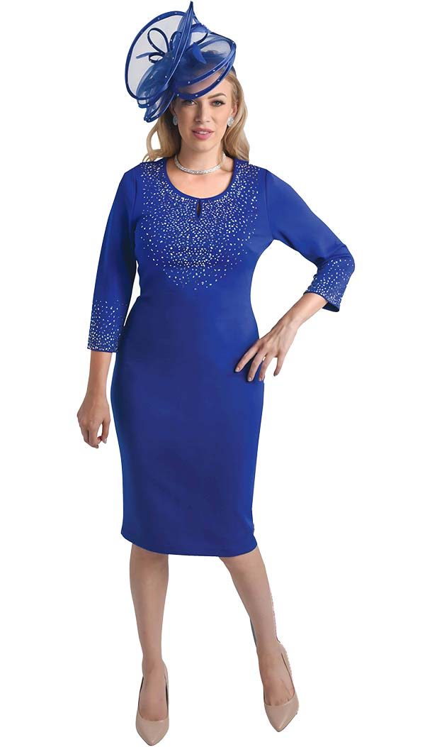 Lily and Taylor 4348 - Embellished Dress With Keyhole Neckline In Ponte Knit Fabric