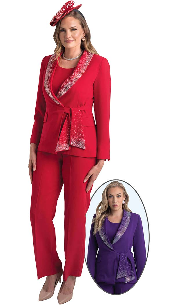 Lily and Taylor 4373 - Womens Three Piece Pant Suit With Rhinestone Encrusted Shawl Lapel & Sash
