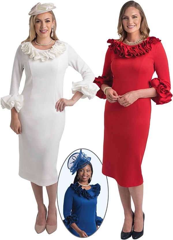 Lily and Taylor 4375 -  Womens Skirt Suit With Ruffle Trims In Ponte Knit Fabric