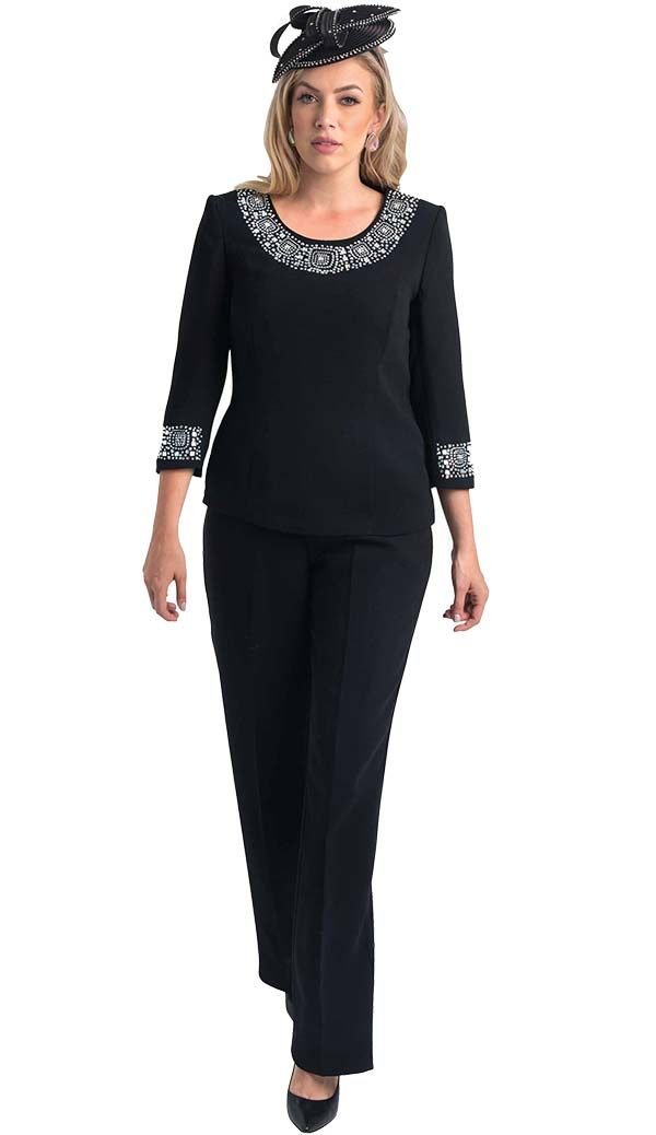 Lily and Taylor 4377 - Womens Pant Suit With Rhinestone Embellished Trim