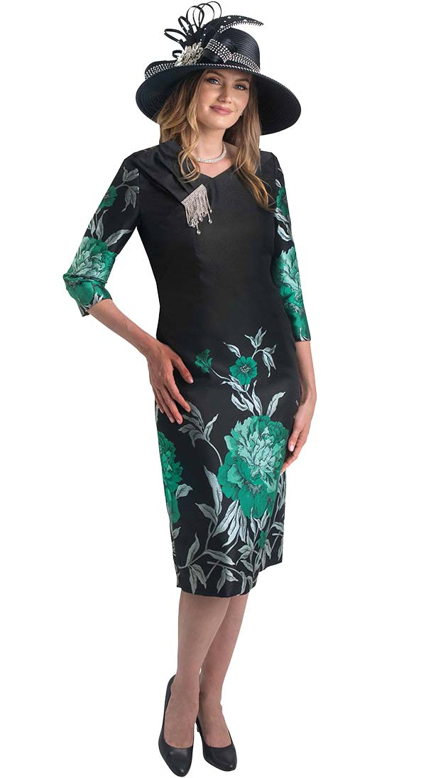 Lily and Taylor 4384-Green -  Floral Print Dress With Embellished Shoulder Adornment