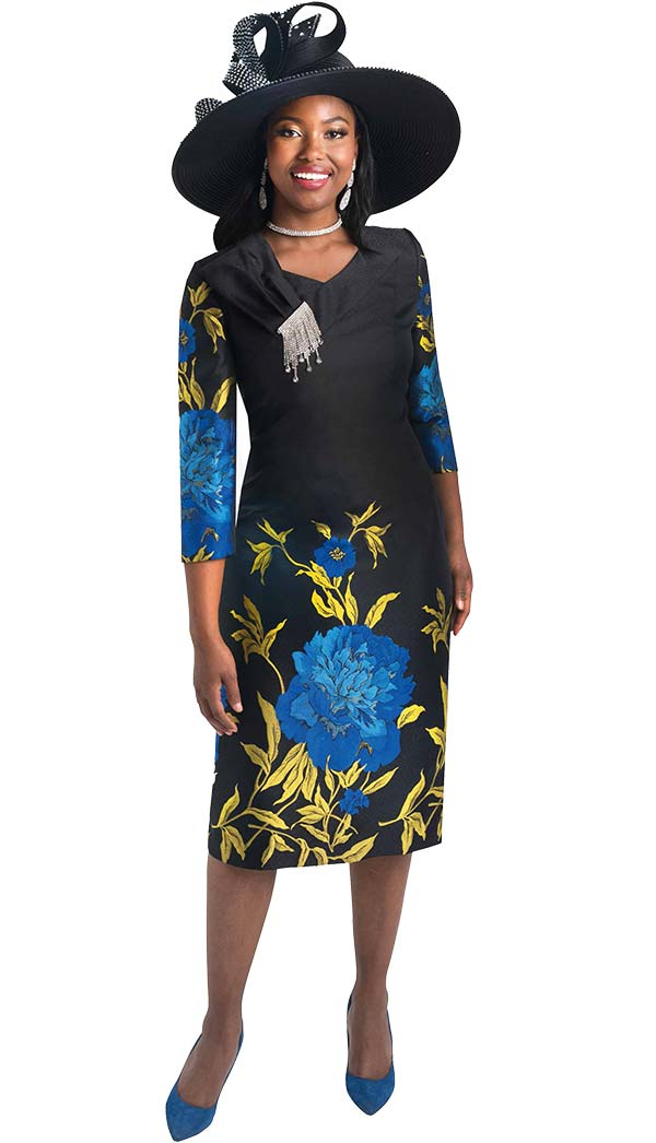 Lily and Taylor 4384-Royal -   Floral Print Dress With Embellished Shoulder Adornment