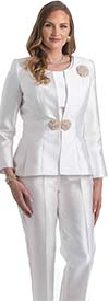 Lily and Taylor 4387 - Womens Three Piece Pant Suit With Beaded Brooch And Clasp