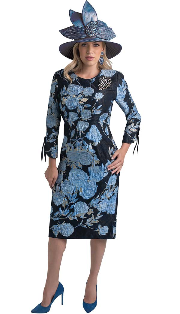 Lily and Taylor 4393-Blue - Sheath Dress In Floral Brocade Style Design Novelty Fabric