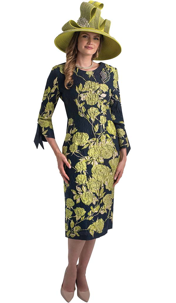Lily and Taylor 4393-Green - Sheath Dress In Floral Brocade Style Design Novelty Fabric