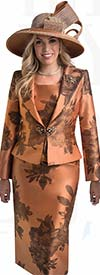 Lily and Taylor 4396 - Womens Three Piece Floral Print Skirt Suit