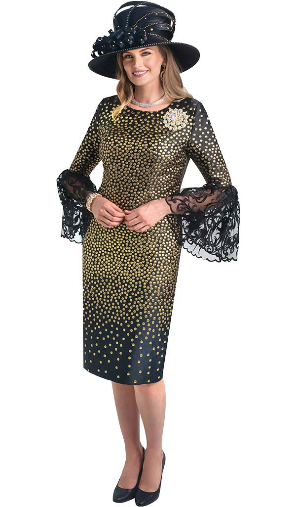 Lily and Taylor 4398 - Lace Flounce Sleeve Dress With Gold Dot Design