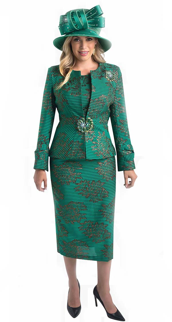 Lily and Taylor 4400-Emerald -  Jewel Neckline Ladies Church Suit With Multi Stripe And Print Design