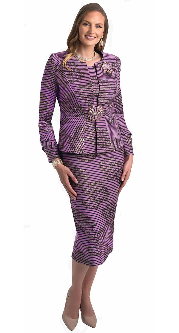 Lily and Taylor 4400-Rose -  Jewel Neckline Ladies Church Suit With Multi Stripe And Print Design