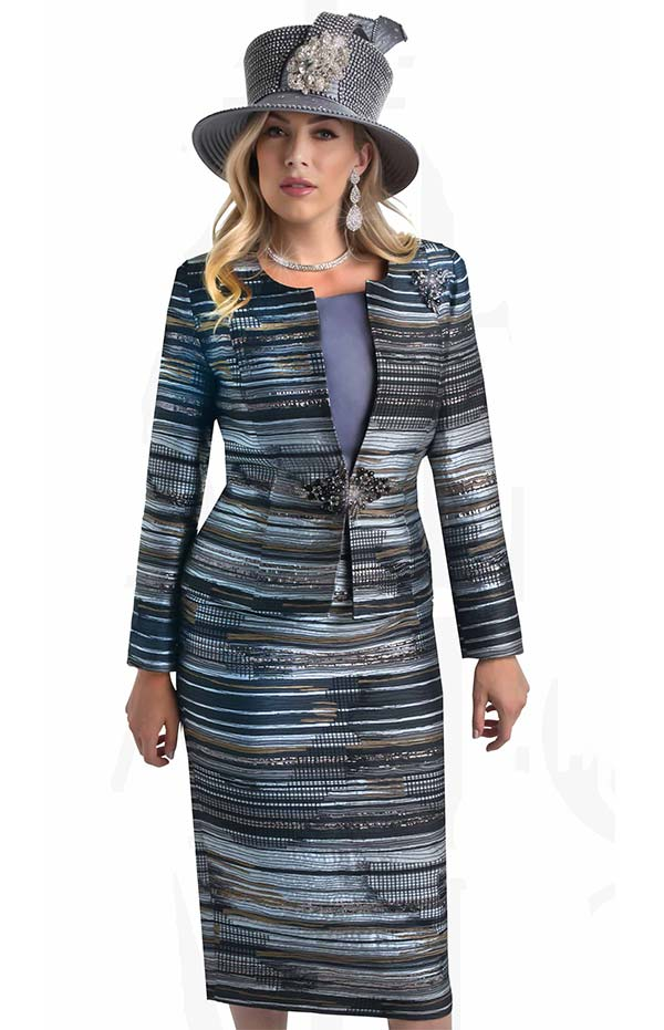 Lily and Taylor 4401 -  Three Piece Multi Print Church Suit With Horizontal Striped Design