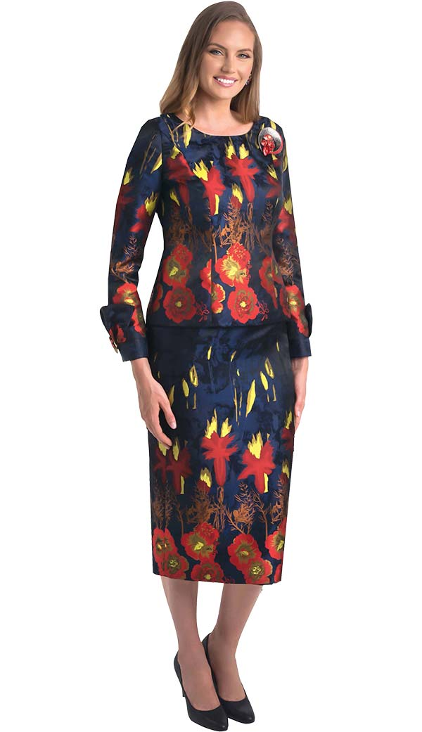 Lily and Taylor 4407 - Ladies Skirt Suit With Boat Neck Jacket In Floral Print Design