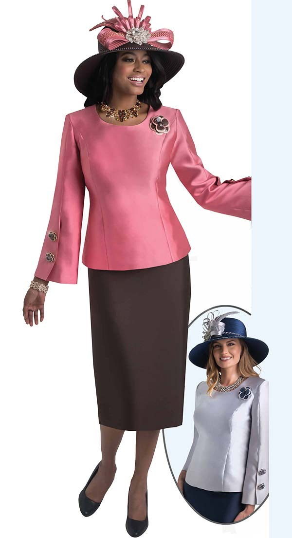 Lily and Taylor 4416-  Skirt Suit With Round Neckline On Split And Buttoned Sleeve Jacket