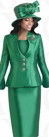 Lily and Taylor 4417-Emerald -  Womens Church Suit With Pointed Shawl Lapel