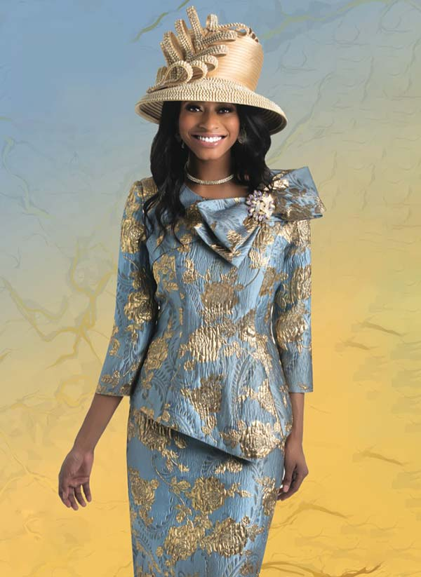 Lily and Taylor 4421 -  Multi Print Church Suit With Asymmetric Design Bow Adorned Jacket