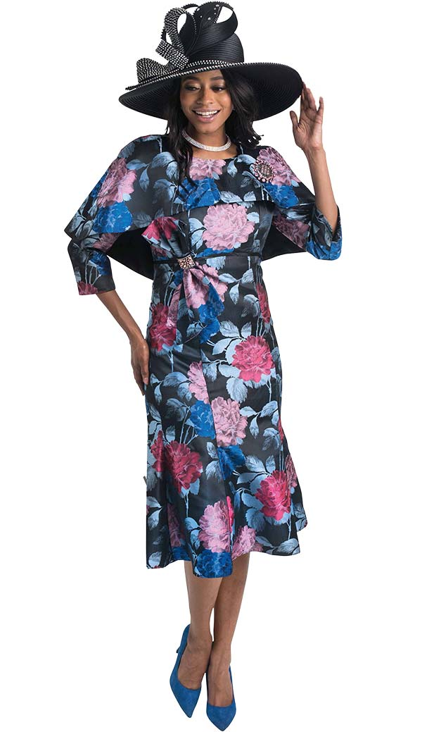 Lily and Taylor 4423 - Capelet Design Dress In Floral Print Novelty Fabric
