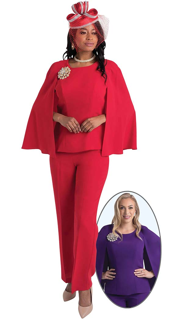 Lily and Taylor 4429 - Womens Pant Suit With Cape Style Jacket And Brooch