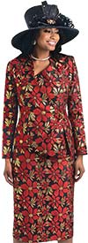 Lily and Taylor 4432 - Skirt And Wrap Style Jacket With Flower Print Pattern Design