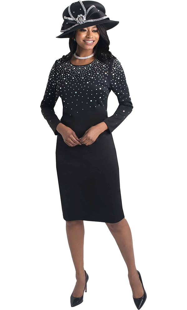 Lily and Taylor 4436 - Sheath Dress With Rhinestone Embellishments In Ponte Knit Fabric