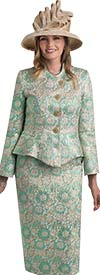 Lily and Taylor 4441-Green -  Skirt Suit In Brocade Design With Wrap Style Jacket
